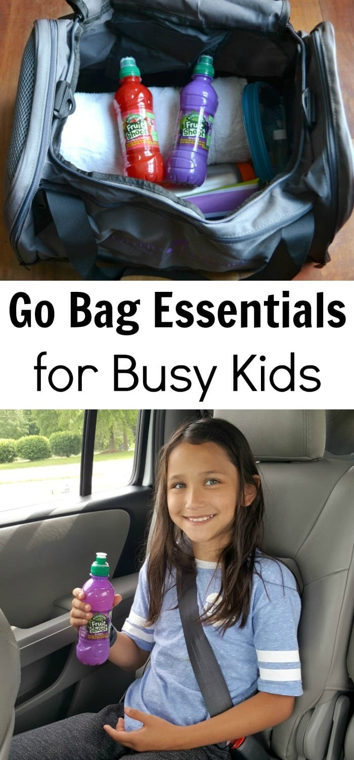 Great list of items to pack in a go bag for kids who are active! Includes practical items to make daily life easier, no matter how busy life gets.