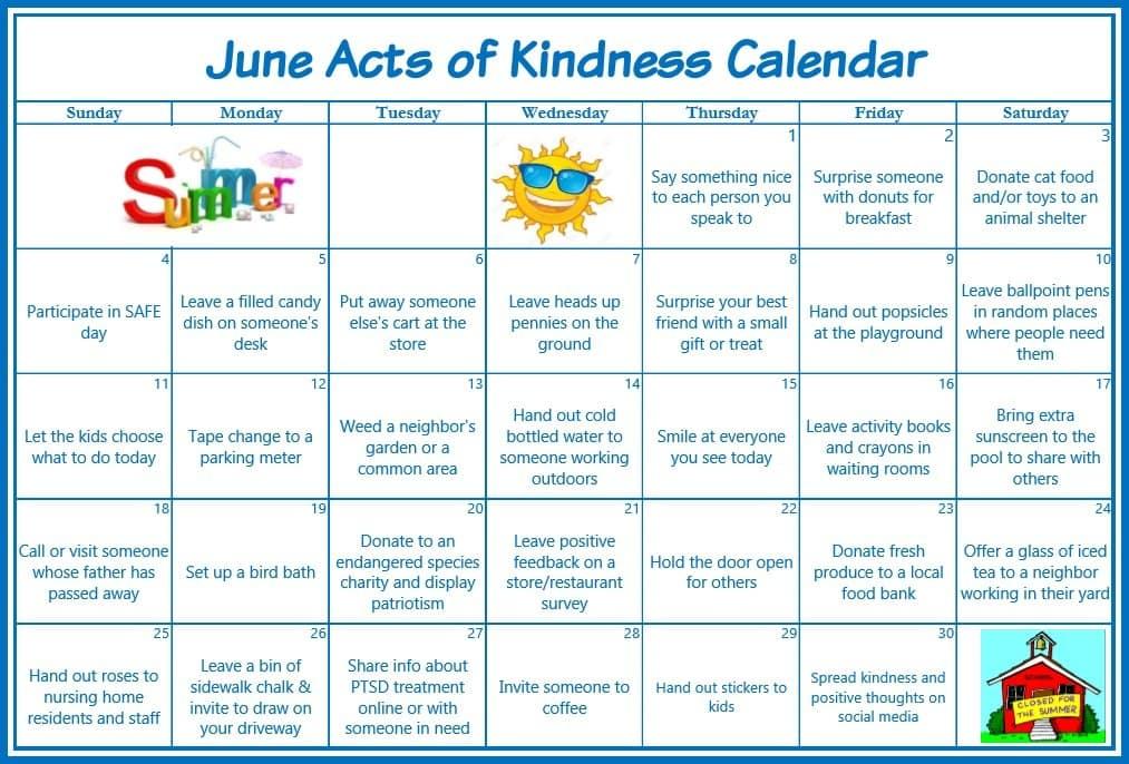 Kids Kindness Calendar : June acts of kindness calendar