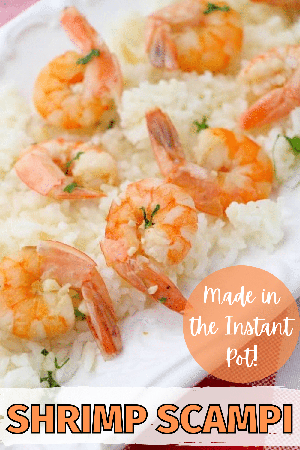 This Instant Pot Shrimp Scampi is quick and easy and perfect served over rice or pasta. So much lemony garlic flavor, so little work! #instantpot #pressurecooker #shrimpscampi #shrimp via @wondermomwannab