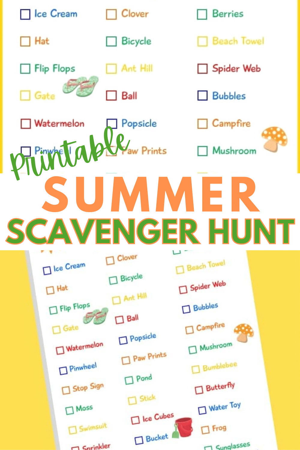 This summer scavenger hunt is the perfect way to motivate kids to get outside. Most of the items are easily found in your neighborhood. #summerfun #summeractivity #outdooractivity #scavengerhunt via @wondermomwannab