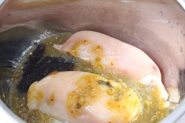 chicken breasts, salsa verde, honey, and lime juice in an instant pot