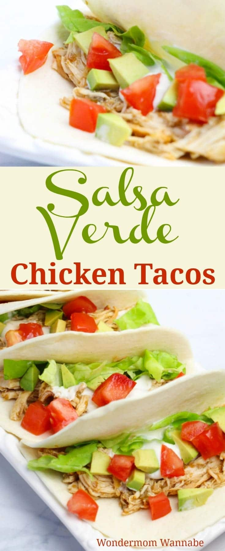 These Salsa Verde Chicken Tacos are so delicious and ridiculously easy to make in an Instant Pot or slow cooker.