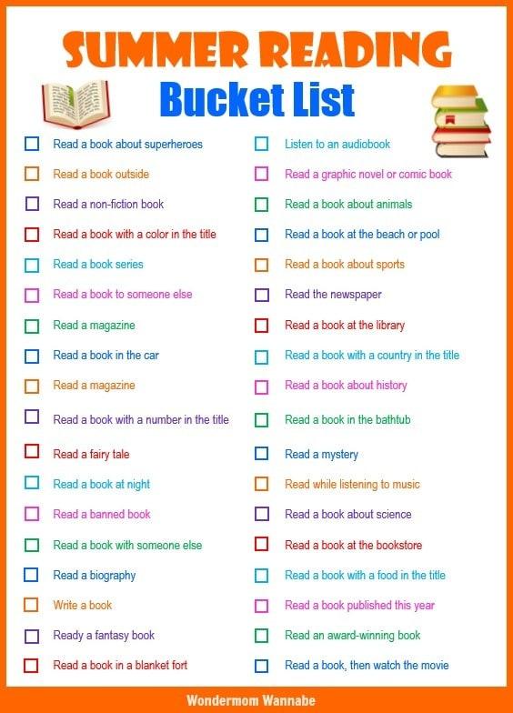 printable summer reading bucket list