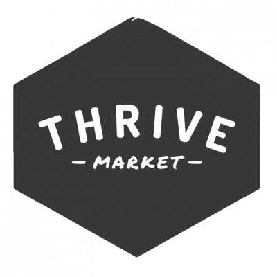 thrive market on a black hexagon shape