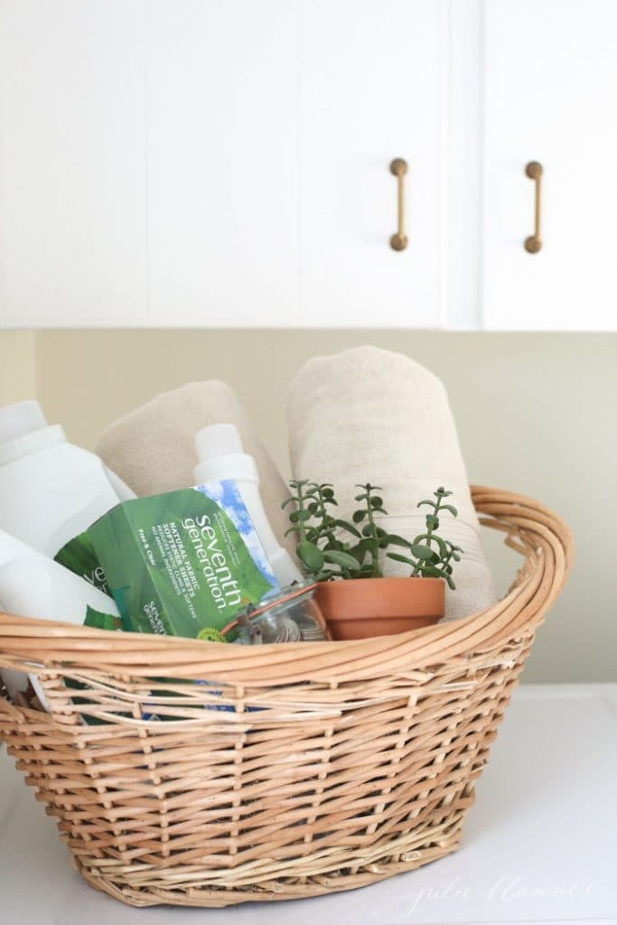 best high school graduation gift idea - laundry supplies in a wicker basket