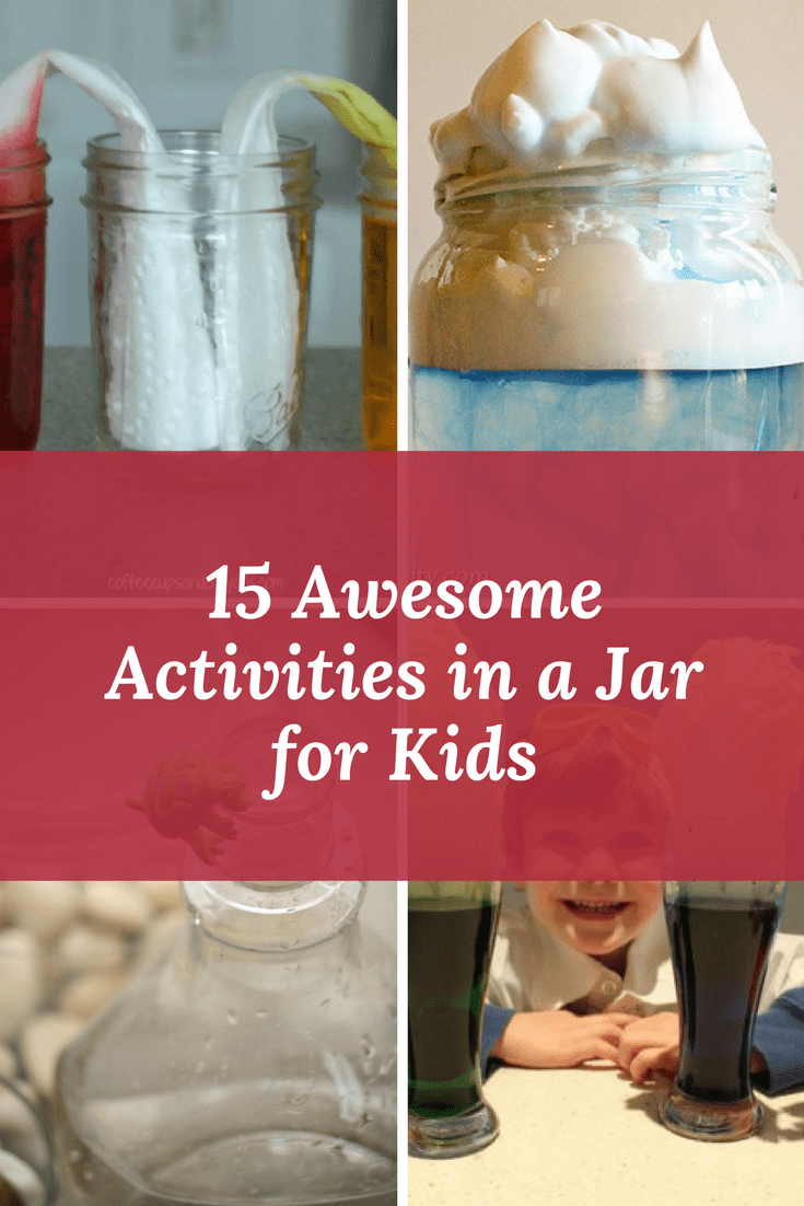 a collage of four different activities with title text reading 15 Awesome Activities in a Jar for Kids