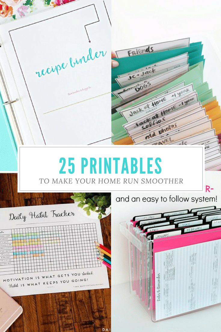 This is a great collection of free printables for organizing home life! From tracking daily habits to planning meals, there's a sheet for everything! #Printables #Freeprintables #organizingprintables