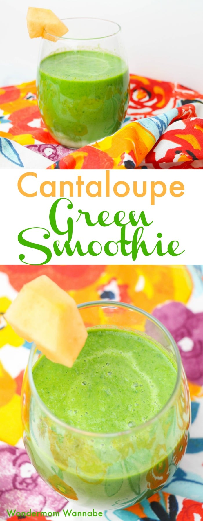 A fun and unique smoothie recipe with just four ingredients! This cantaloupe green smoothie is chock full of nutrition and so easy to make.