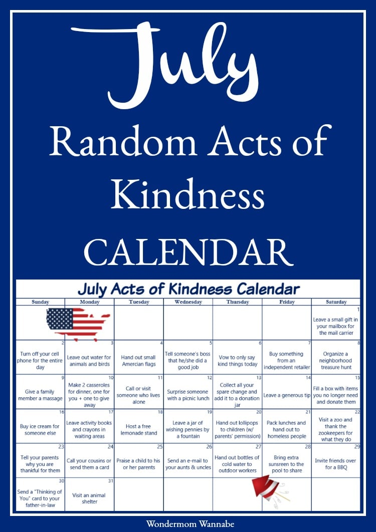 This kindness calendar series is a fun and easy way to spread joy throughout the year. This July acts of kindness calendar has lots of fun ideas inspired by July holidays and themes.