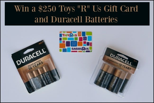 two packages of batteries and a toys r us gift card with title text reading Win a $250 Toys R Us Gift Card and duracell batteries