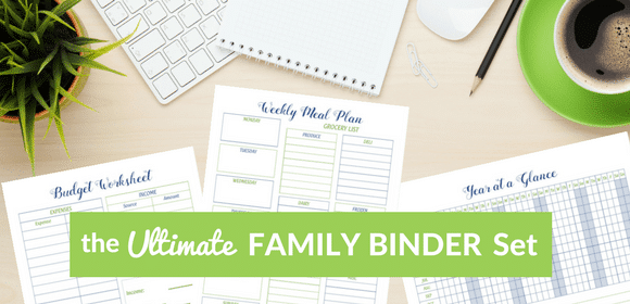 printable Budget Worksheet, Weekly Meal Plan and Year at a Glance on a desk with title text reading the Ultimate Family Binder Set