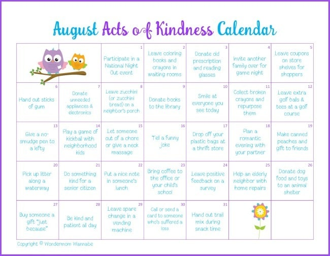 August acts of kindness calendar