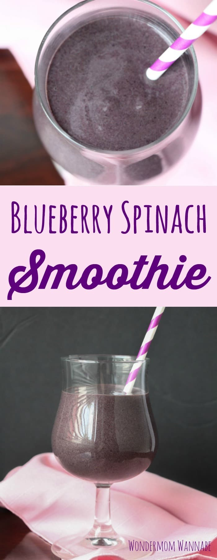 a collage of a blueberry smoothie in a glass with a pink and white striped straw in it on a pink cloth with a dark background with title text reading Blueberry Spinach Smoothie