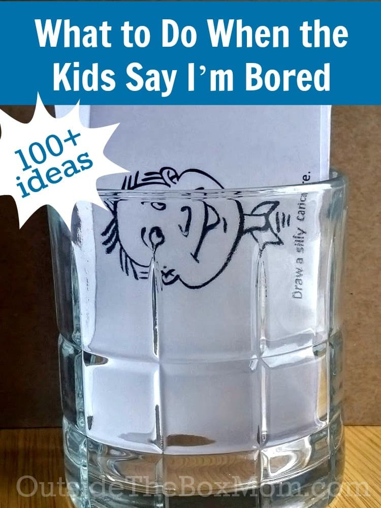 a jar with paper cards in it with graphics on them with title text reading What to Do When the Kids Say I'm Bored 100+ Ideas
