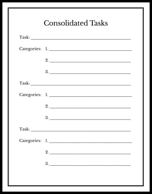 printable list of consolidated tasks