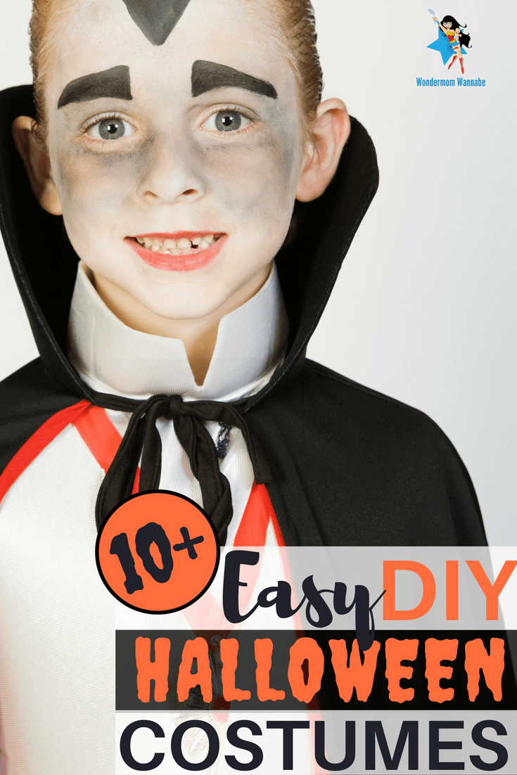 a boy in a dracula costume with title text reading 10+ Easy DIY Halloween Costumes