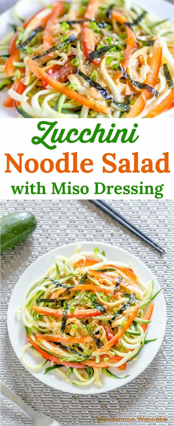 So excited to have discovered zoodles! This zucchini noodle salad with miso dressing is so delicious and far more beautiful and nutritious than a pasta dish.