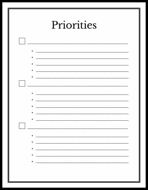 printable priorities checklist
