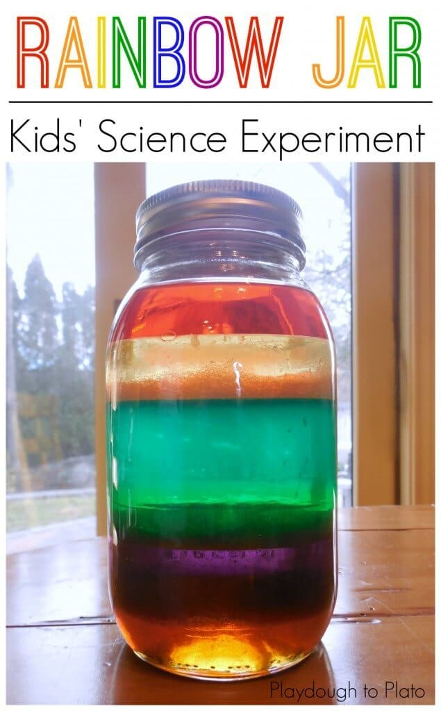 a jar with layers of different colored liquid in it with title text reading Rainbow Jar Kids' Science Experiment