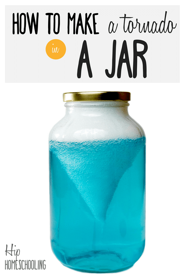 a jar with blue liquid and white foam at the top and in the middle with title text reading How to Make a tornado in A Jar