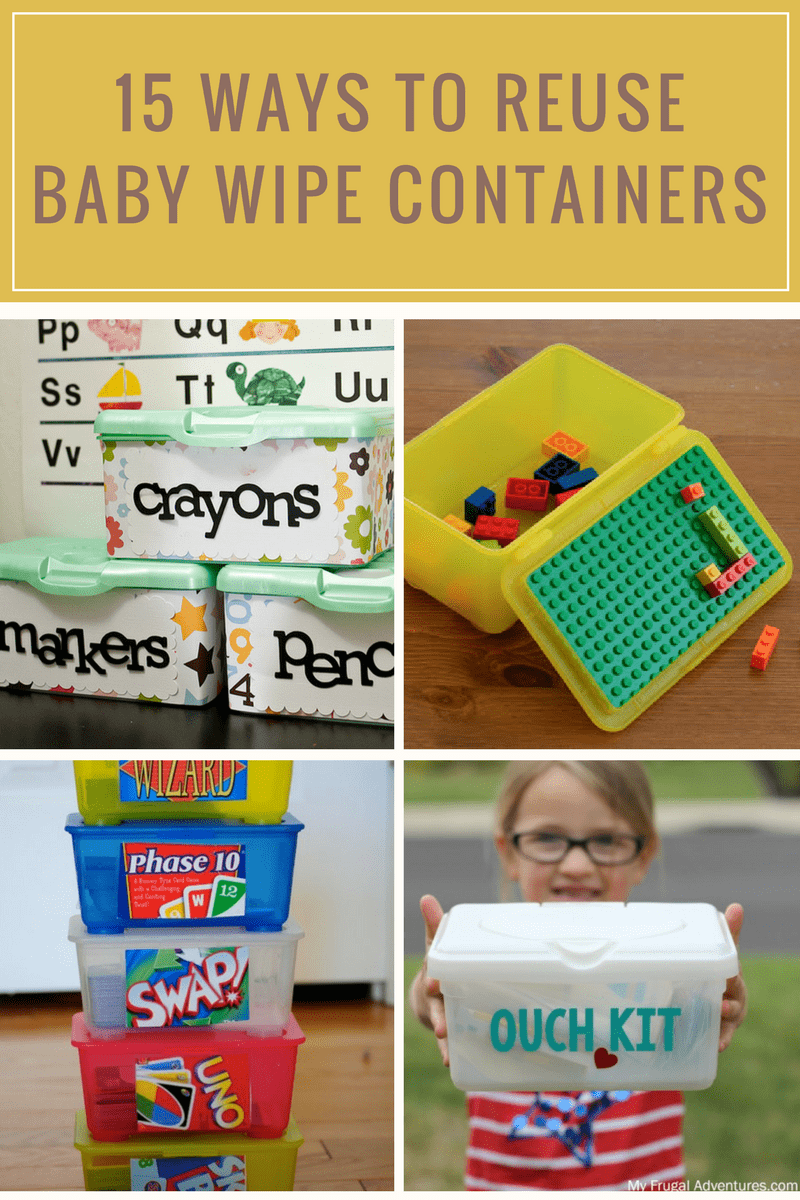 Check out all the clever ways you can repurpose baby wipe containers to help your organize your home and entertain your kids.