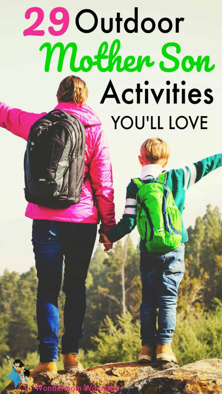 a mother and son wearing backpacks standing on rocks outside with trees in the background with title text reading 29 Outdoor Mother Son Activities You'll Love