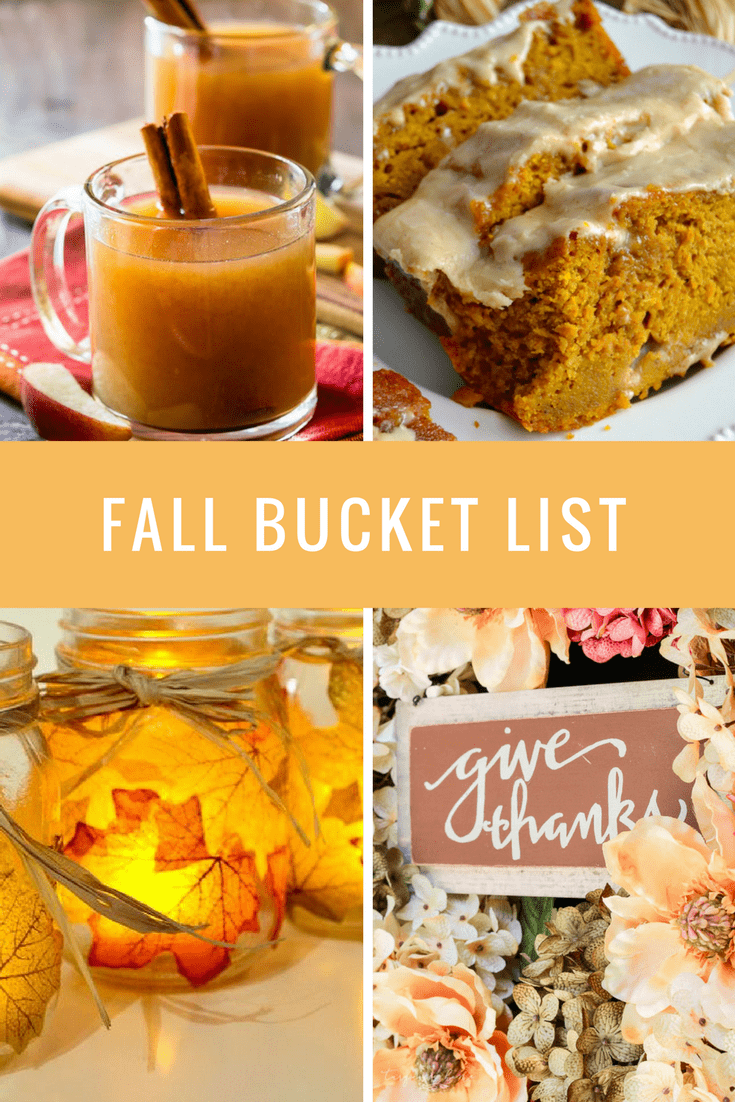 a collage of a drink, dessert, and crafts with title text reading Fall Bucket List