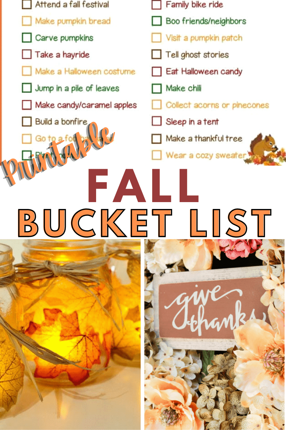 This fall bucket list includes all of the fun activities that make fall a wonderful season. It's the perfect way to get out and enjoy the season as a family. #printable #fall #fallactivities #bucketlist via @wondermomwannab