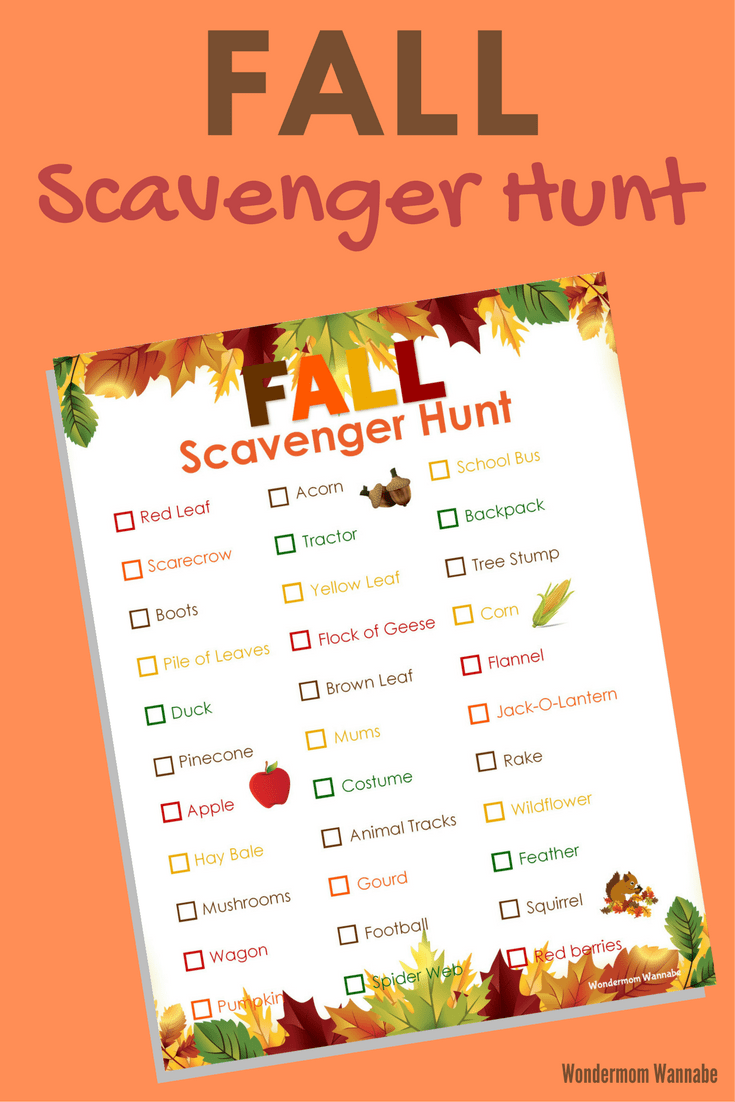 printable checklist on an orange background with title text reading Fall Scavenger Hunt