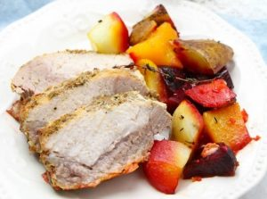 Roasted Garlic and Herb Pork Loin with Vegetables