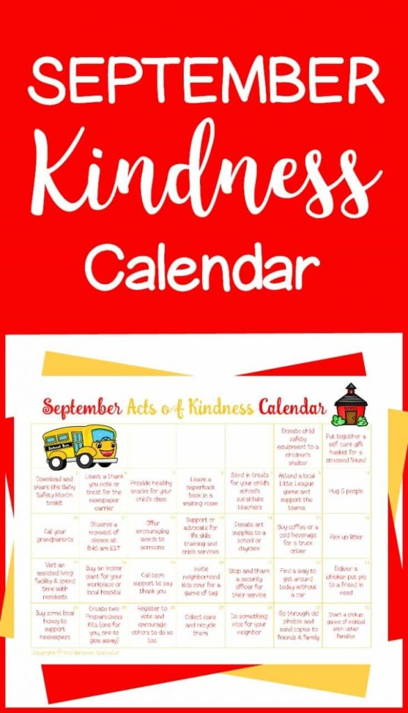 This September Acts of Kindness calendar is a simple and fun way to do nice things for others all month long.