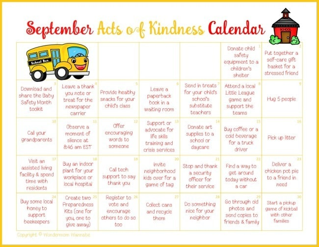 Kids Kindness Calendar : September acts of kindness calendar