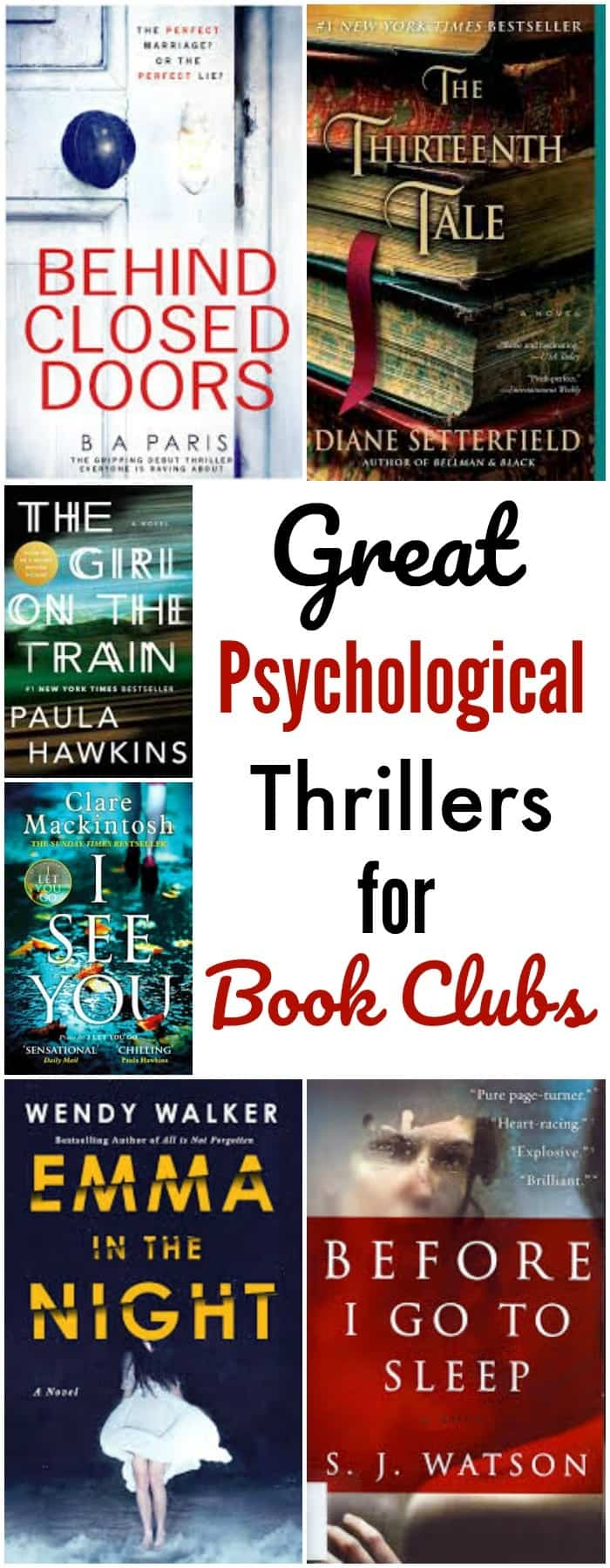 a collage of books with title text reading Great Psychological Thrillers for Book Clubs
