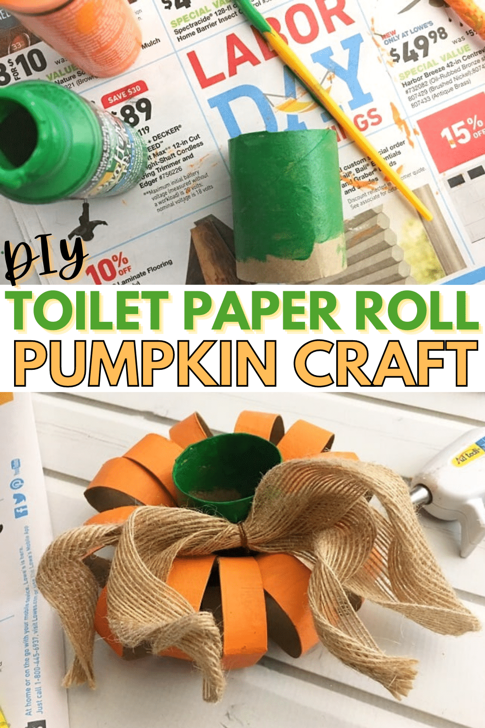 This DIY toilet paper roll pumpkin is an inexpensive and easy way to decorate for fall or Halloween, and you can recycle it after the season is over! #diy #halloween #halloweendecor #decorations via @wondermomwannab