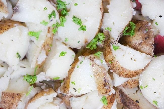 sliced herbed potatoes