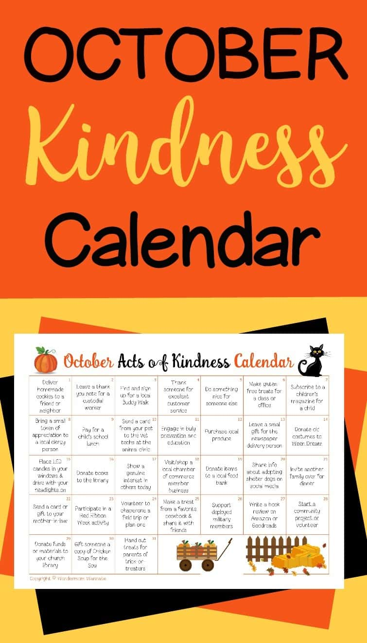 This October Acts of Kindness calendar is a fun way to teach kids generosity and caring. It's full of suggestions based on special observances during October. #october #calendar #actsofkindness #randomactsofkindness via @wondermomwannab