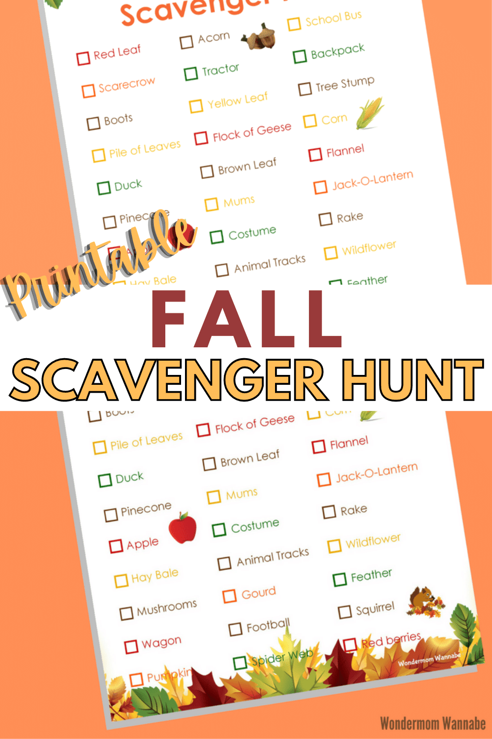 This printable fall scavenger hunt is fa fun and easy way to encourage kids to get outside and explore. #fall #scavengerhunt #kidsactivities #outdooractivities via @wondermomwannab