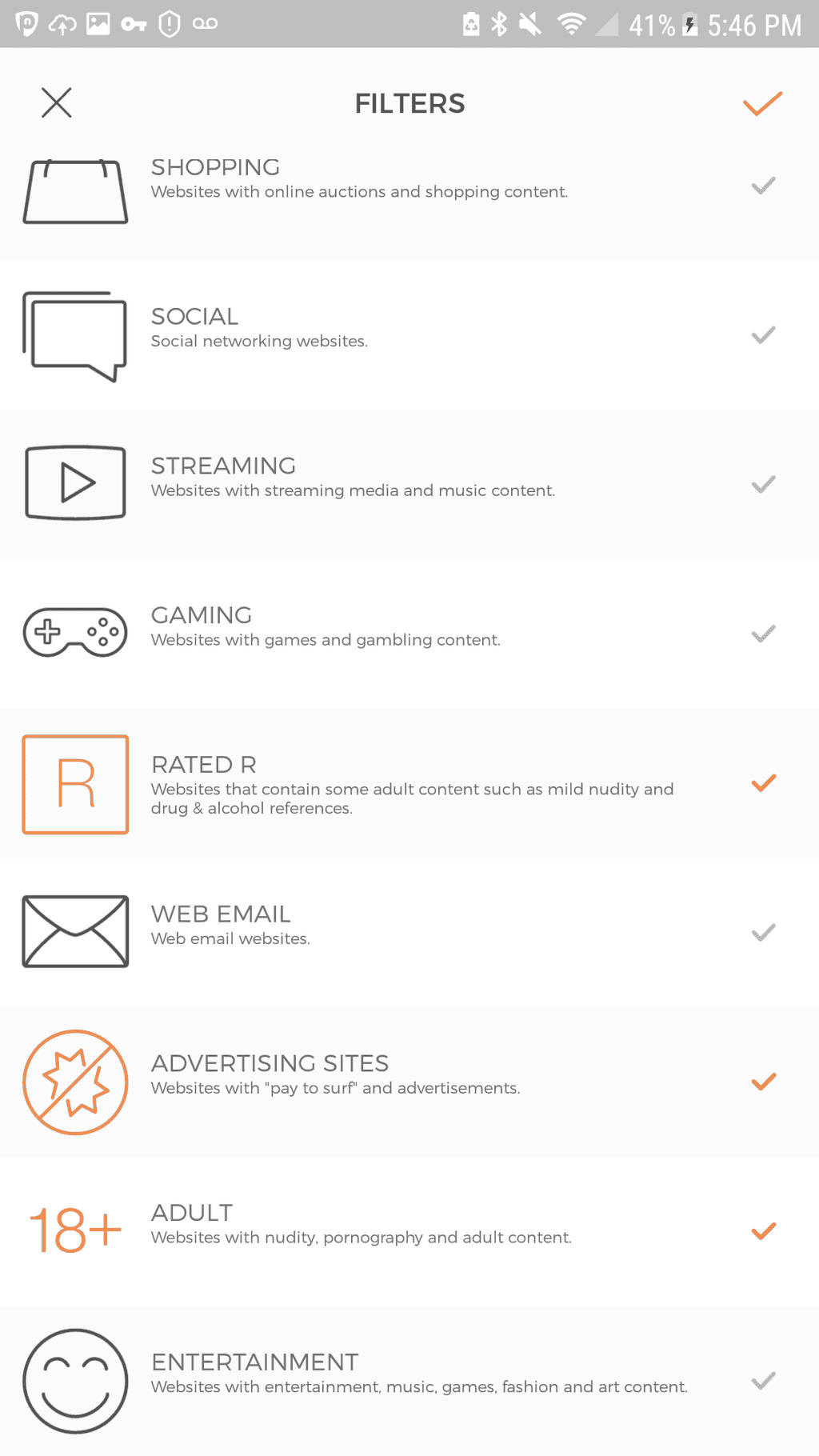 screenshot of the internet filters using cujo