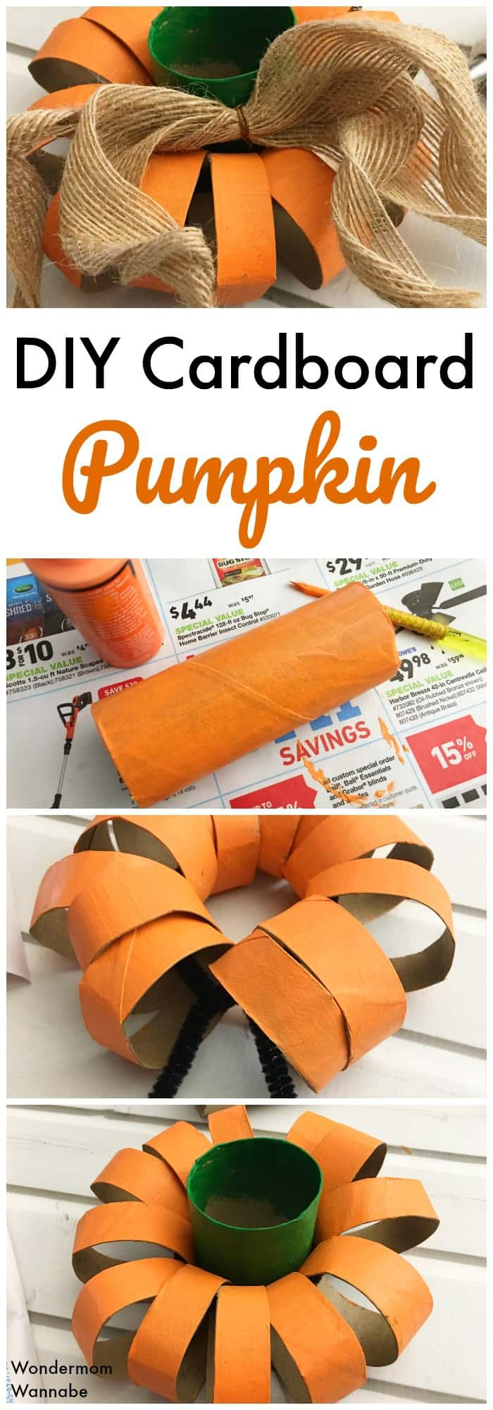 Save money on Hallween decorations by making your own. This DIY toilet paper roll pumpkin is easy to make and can be recycled later.