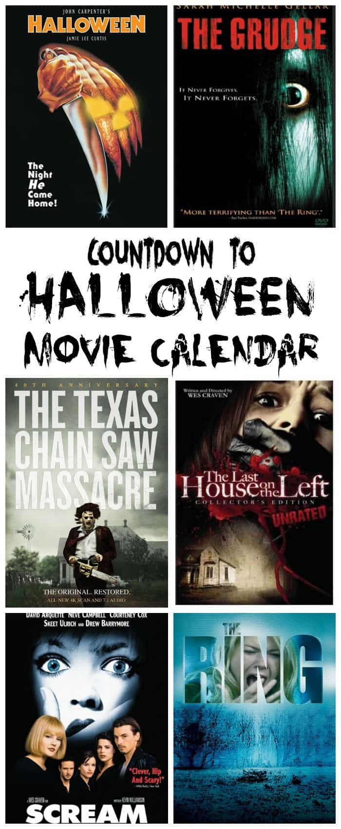 a collage of six different scary movies with title text reading Countdown to Halloween Movie Calendar