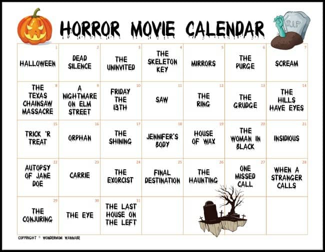 printable Horror Movie Calendar