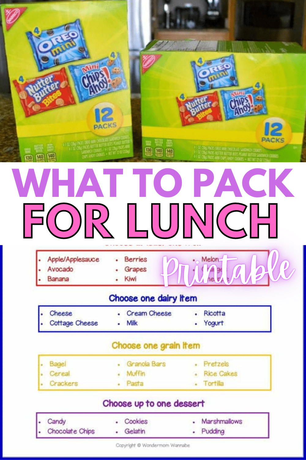 Use this What to Pack for Lunch printable sheet to help your kids make smart food choices on their own and learn an important life skill. #freeprintable #forkids #whattopackforlunch #parentingadvice via @wondermomwannab