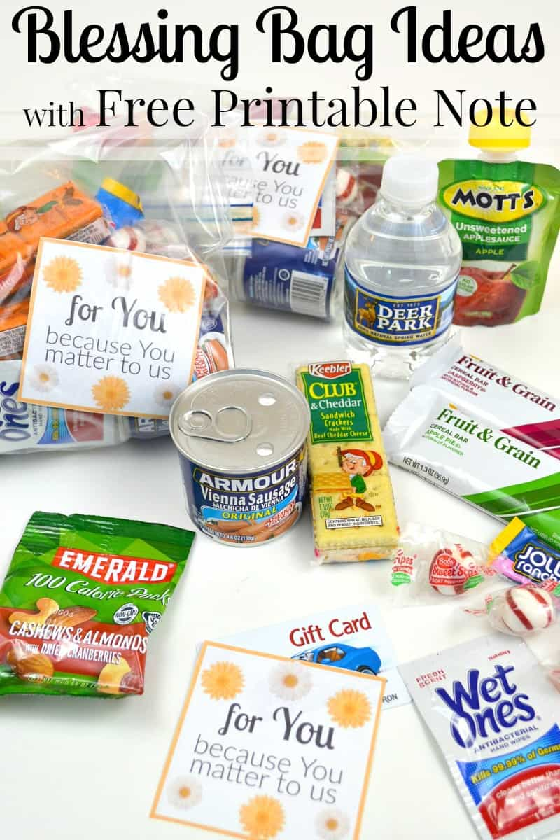 several different snack items, wet ones, and water bottles, some on a table some in plastic bags with a printable card with text reading for you because you matter to us with title text reading Blessing Bag Ideas with Free Printable Note