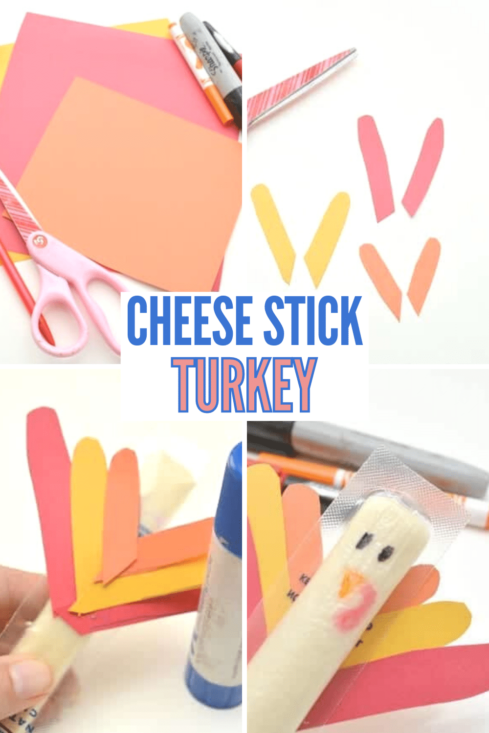 This cheese stick turkey is a fun and healthy snack or treat for kids to enjoy at Thanksgiving and it only takes a couple of minutes to make! #thanksgiving #healthysnack #snackcraft via @wondermomwannab