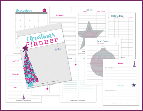 printable christmas planner on a white background with a purple frame around it