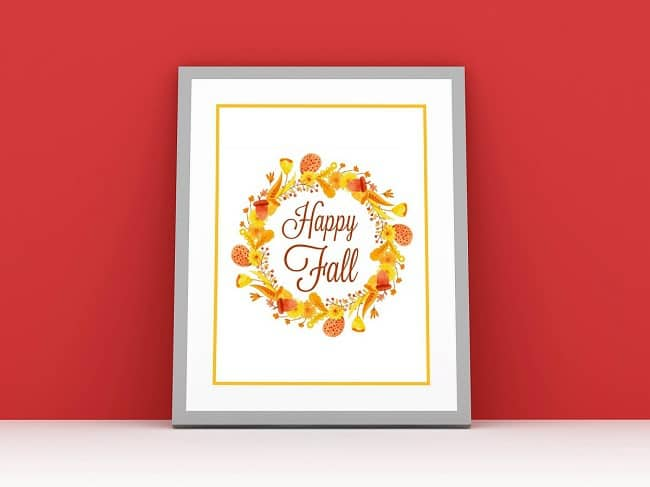 a printable with text reading Happy Fall with Fall flowers around it, in a gray frame on a red background