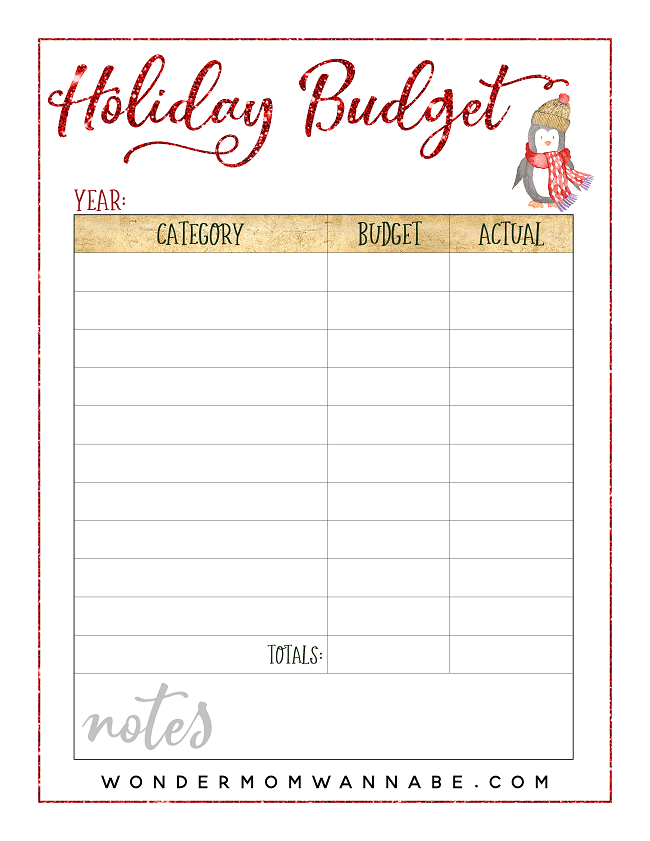 holiday budge printable