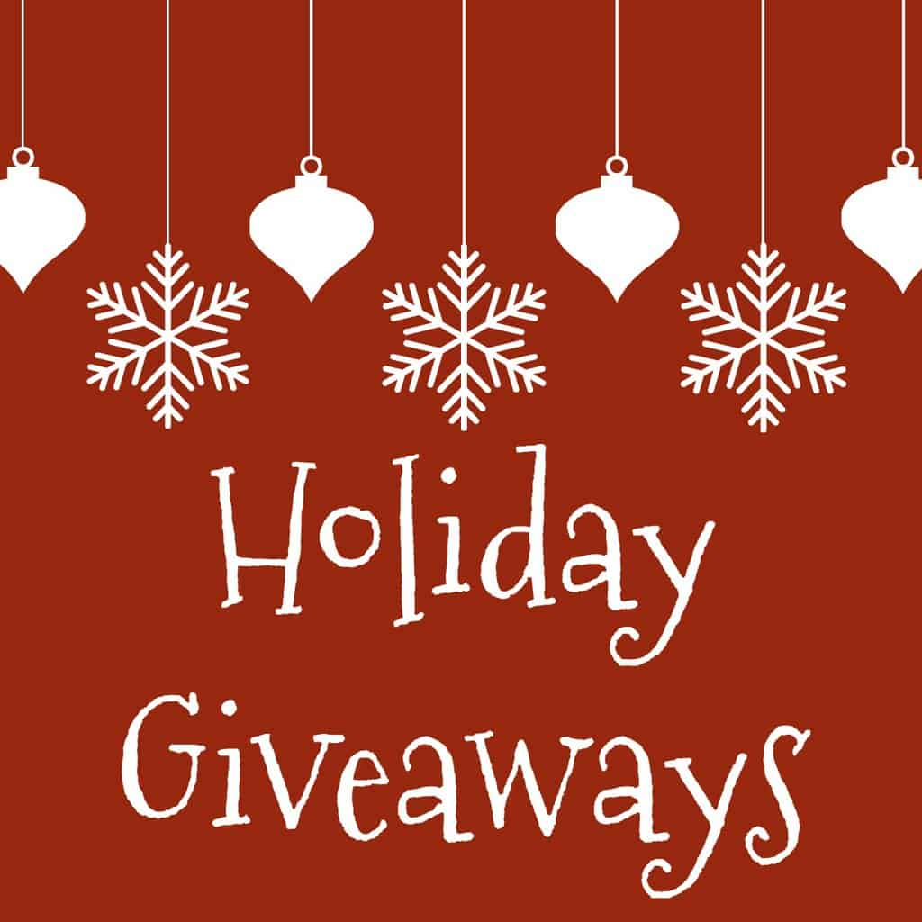 graphics of hanging ornaments and snowflakes on a red background with title text reading Holiday Giveaways