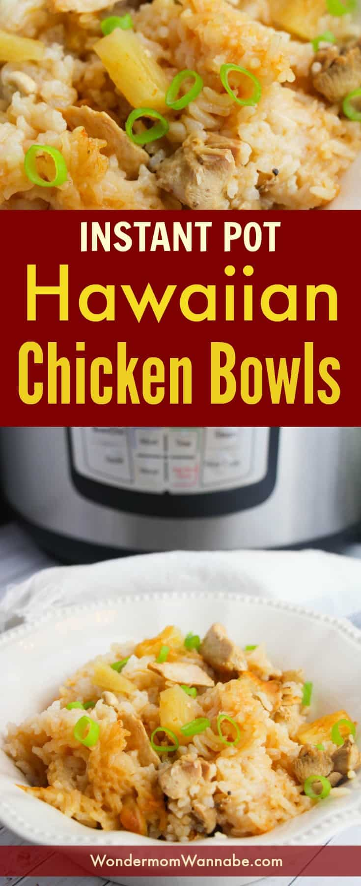 These Instant Pot Hawaiian Chicken Bowls are one of the most-requested dinners by my kids. They're so easy to make too! #instantpot #pressurecooker