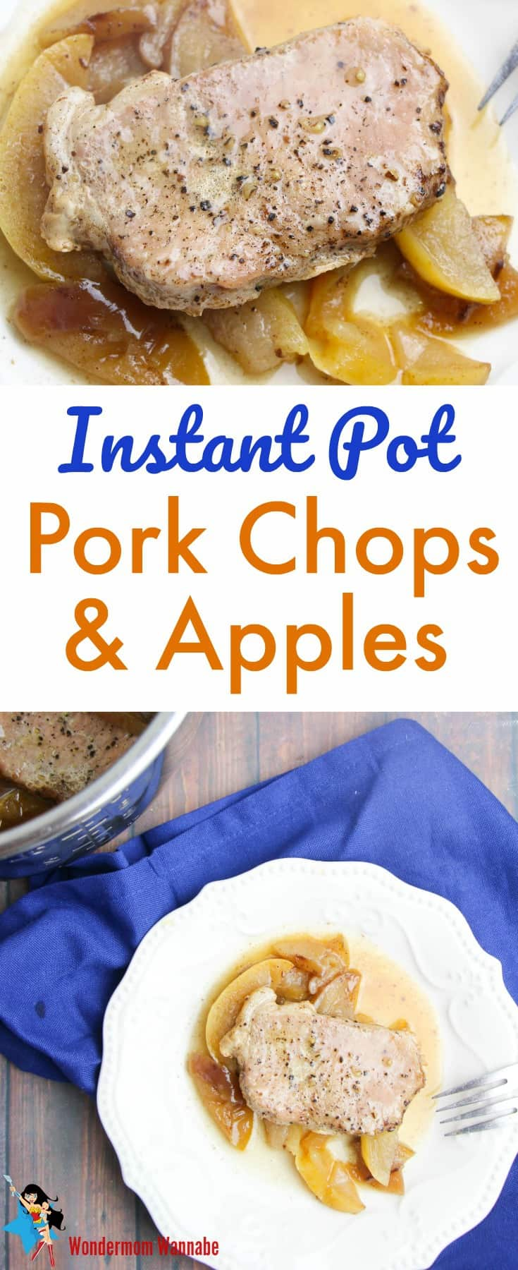 Pefect for fall! These instant pot pork chops and apples are moist, flavorful and delicious. Even better, kids love them! #instantpot #pressurecooker